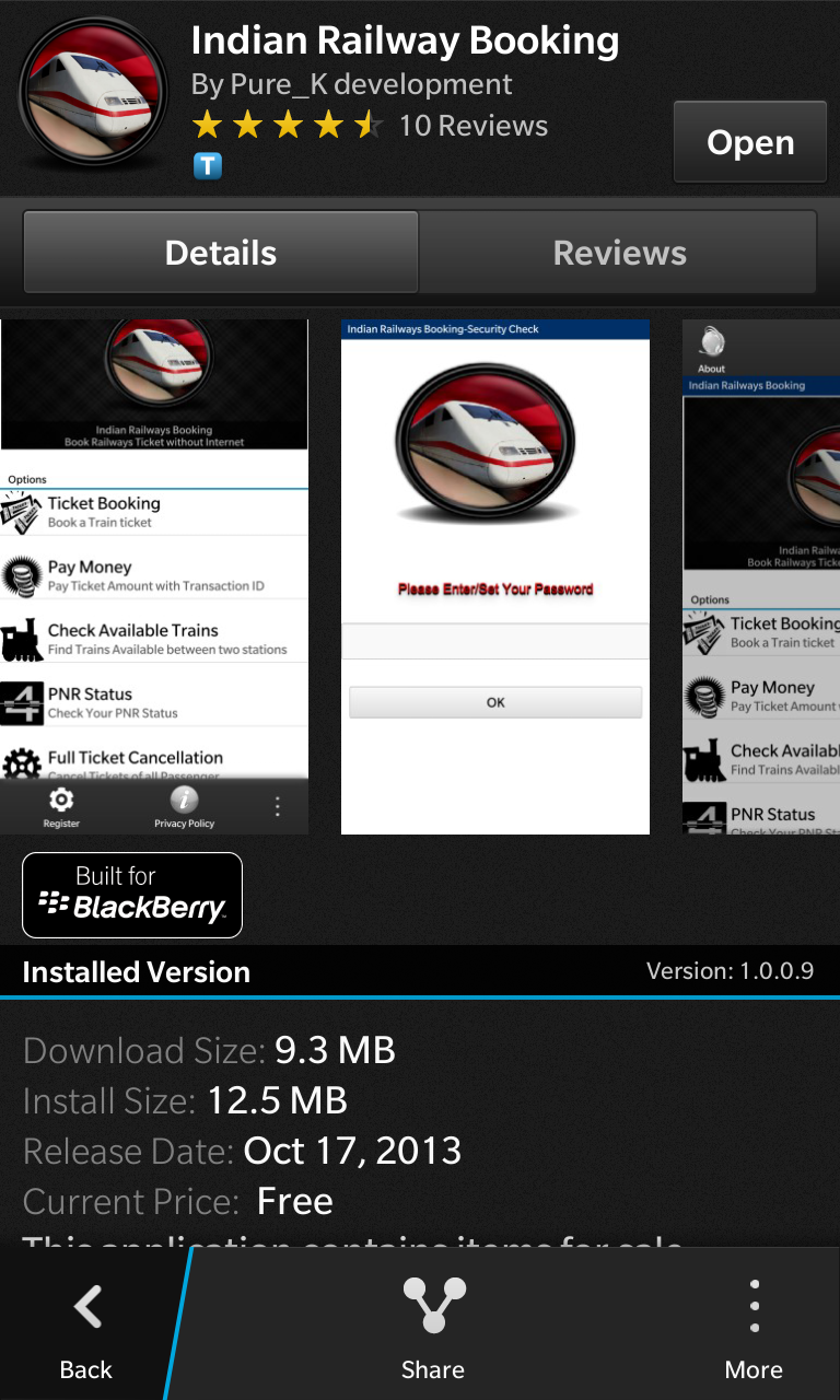 Stay ahead of time with Indian Railway Booking app for BlackBerry 10